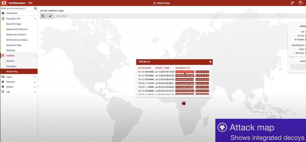 FortiDeceptor - Mapa útočníků na návnady