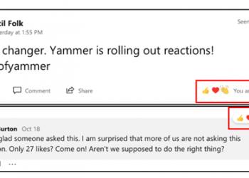 Reakce na příspěvky v Yammeru